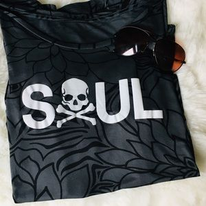 Final price NWOT Soul Cycle Soft Camo Skull Tee
